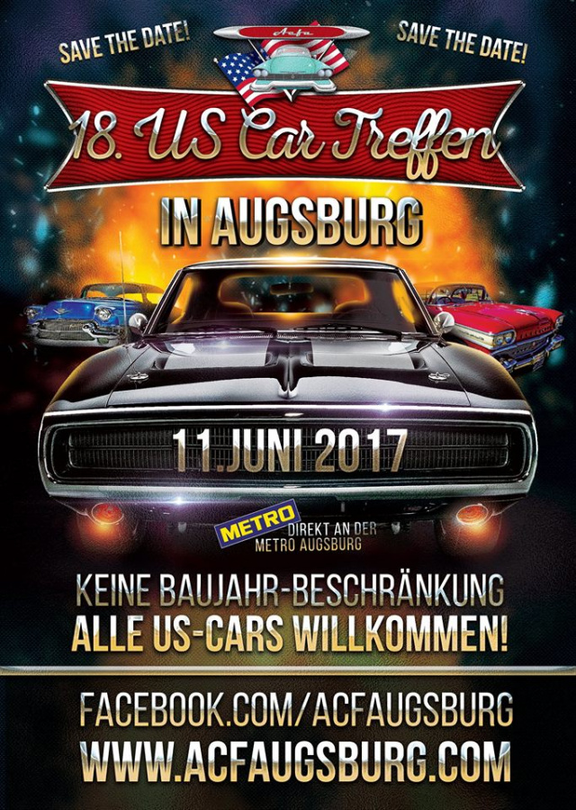 18 us car treffen sonntag 11 juni 2017 augsburg termin americar das online. Black Bedroom Furniture Sets. Home Design Ideas