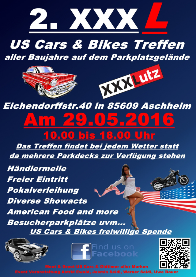 2 xxxl us cars bikes treffen sonntag 29 mai 2016. Black Bedroom Furniture Sets. Home Design Ideas