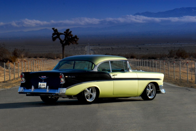 get your kicks in a 39 56 cooler chevy 1956er bel air fotos peter linney auto des monats. Black Bedroom Furniture Sets. Home Design Ideas
